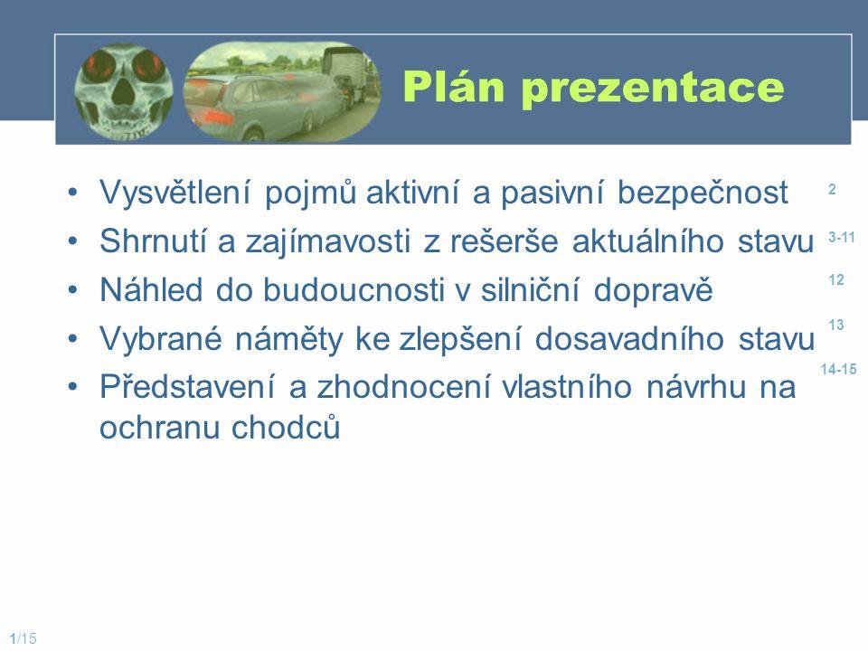 Plán prezentace Vysvětlení pojmů aktivní a pasivní bezpečnost