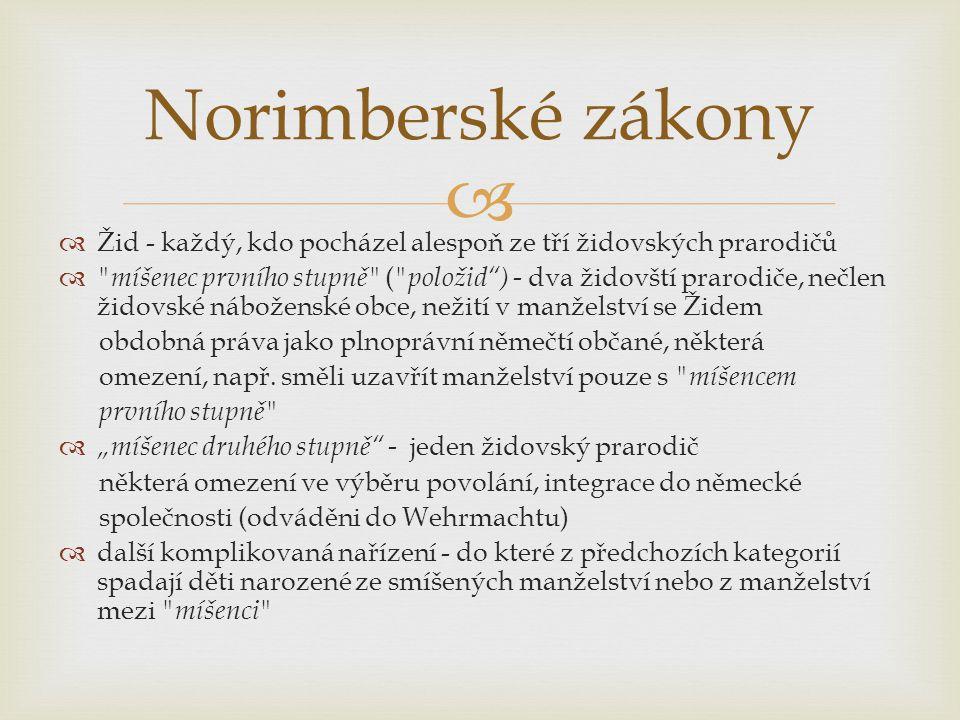 Norimberské zákony Žid - každý, kdo pocházel alespoň ze tří židovských prarodičů.
