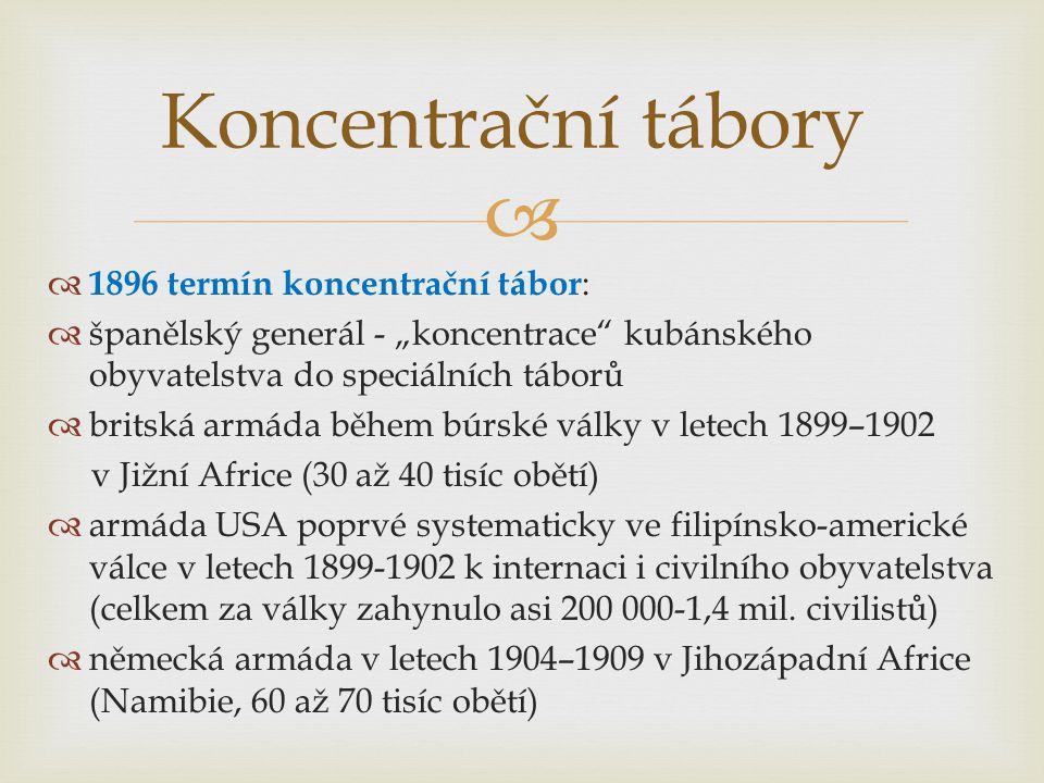 Koncentrační tábory 1896 termín koncentrační tábor: