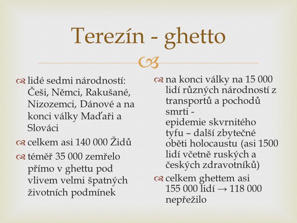 Terezín - ghetto lidé sedmi národností: Češi, Němci, Rakušané, Nizozemci, Dánové a na konci války Maďaři a Slováci.