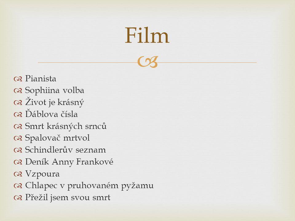 Film Pianista Sophiina volba Život je krásný Ďáblova čísla