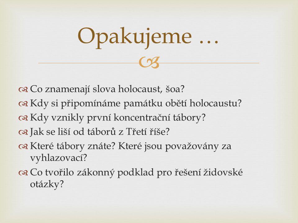 Opakujeme … Co znamenají slova holocaust, šoa