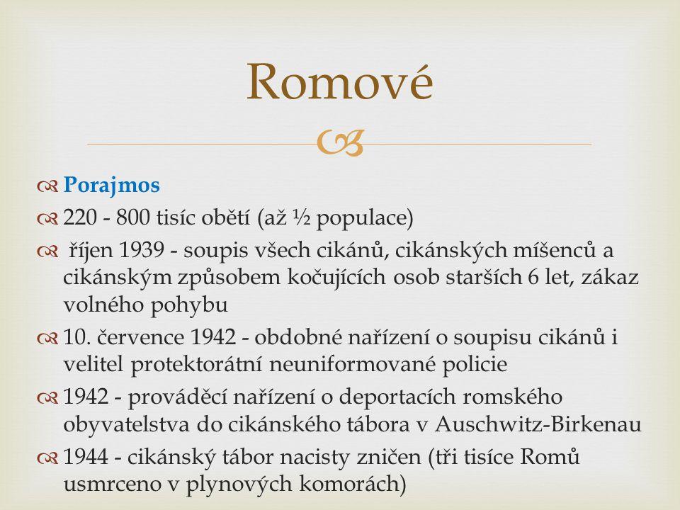 Romové Porajmos 220 - 800 tisíc obětí (až ½ populace)