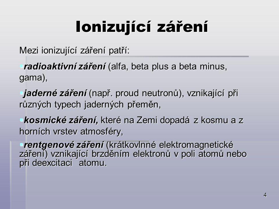 Ionizující záření Mezi ionizující záření patří: