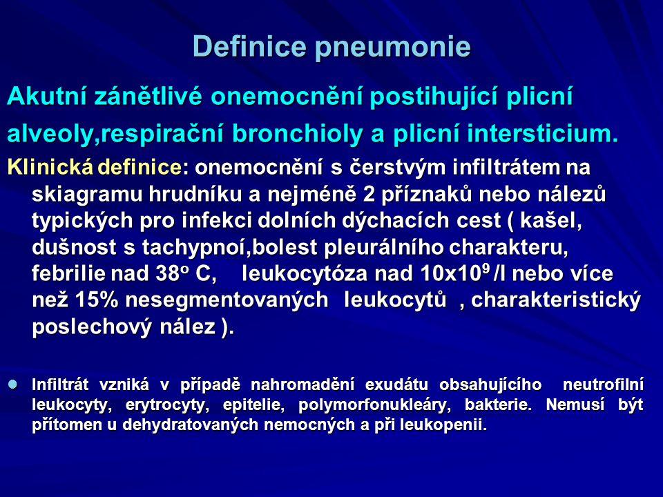 Definice pneumonie Akutní zánětlivé onemocnění postihující plicní