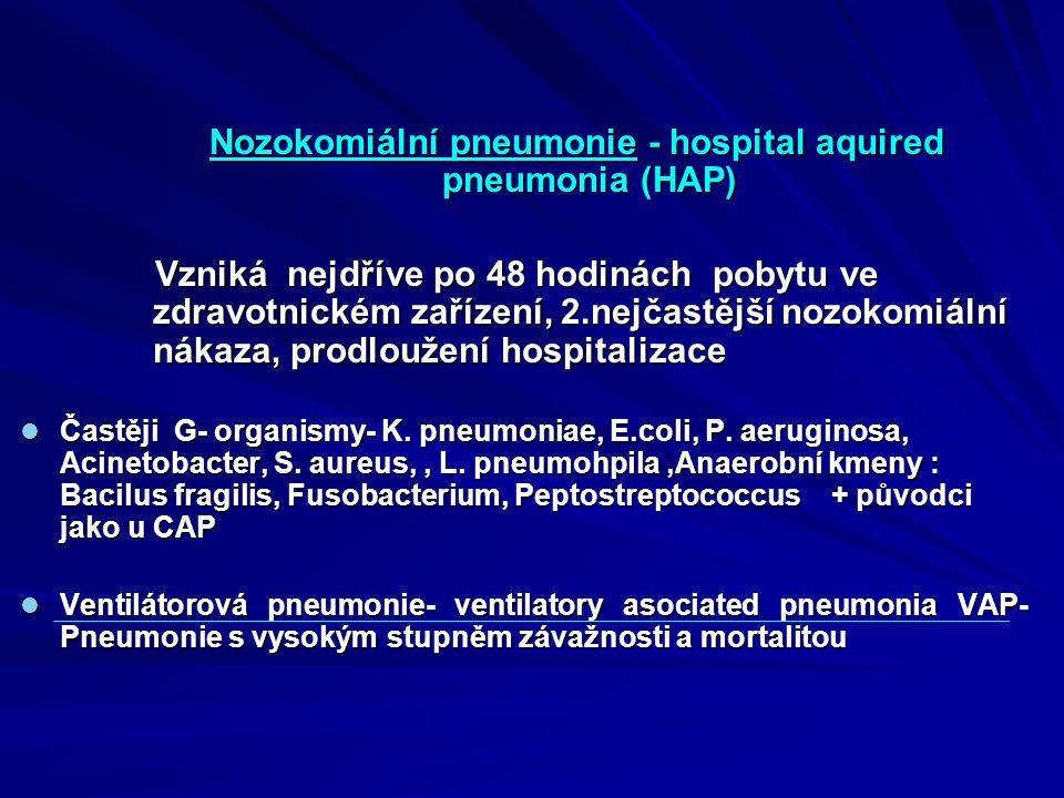Nozokomiální pneumonie - hospital aquired pneumonia (HAP)