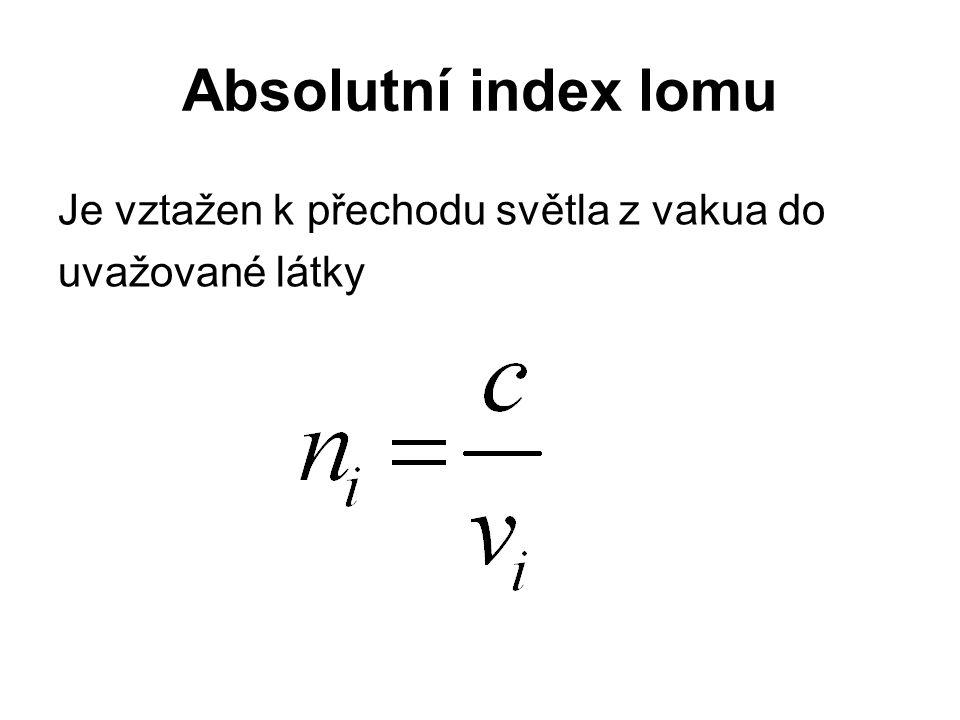 Absolutní index lomu Je vztažen k přechodu světla z vakua do