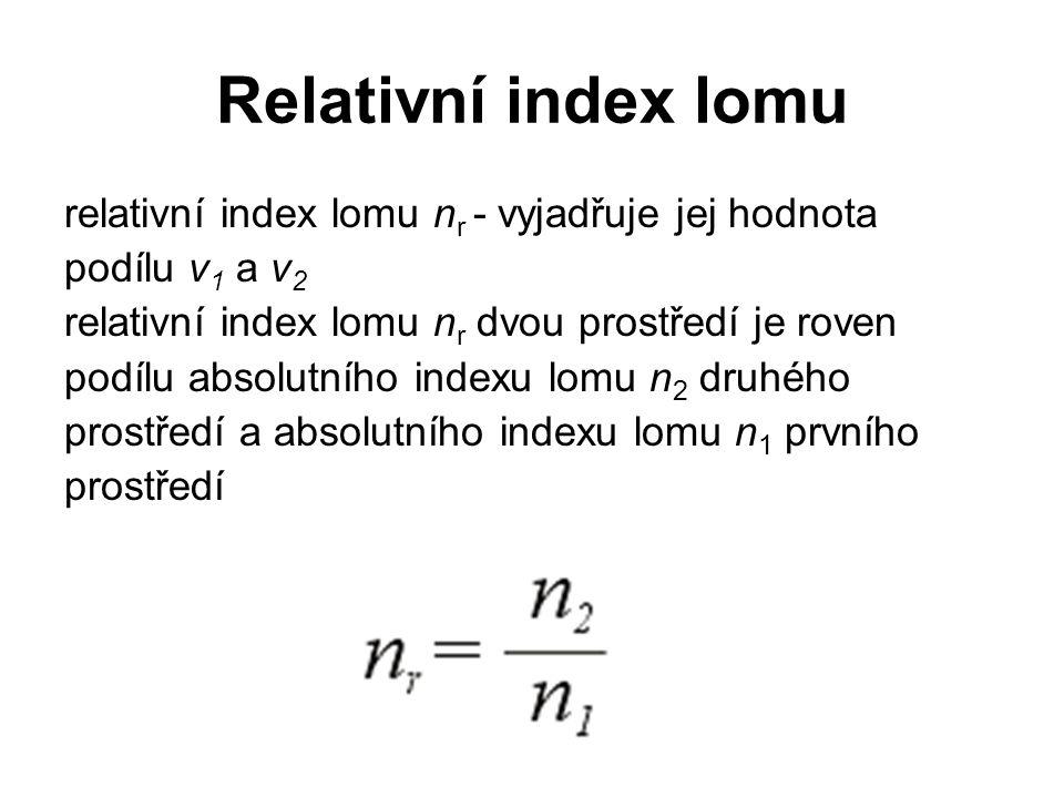 Relativní index lomu relativní index lomu nr - vyjadřuje jej hodnota