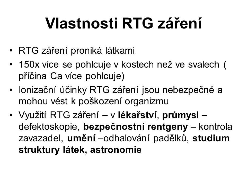 Vlastnosti RTG záření RTG záření proniká látkami