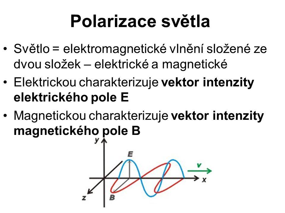Polarizace světla Světlo = elektromagnetické vlnění složené ze dvou složek – elektrické a magnetické.