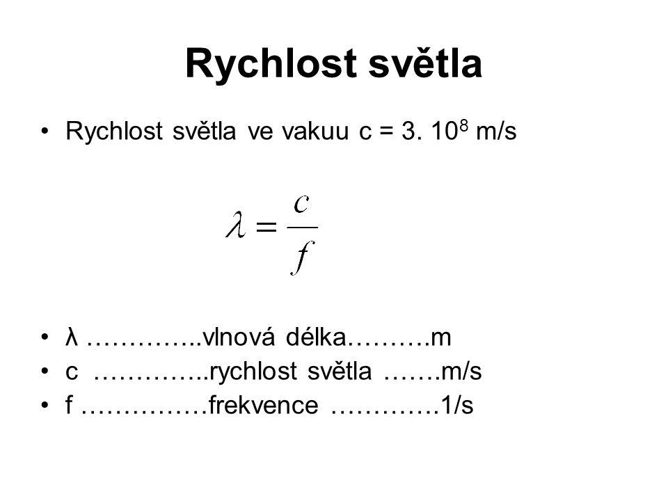 Rychlost světla Rychlost světla ve vakuu c = 3. 108 m/s