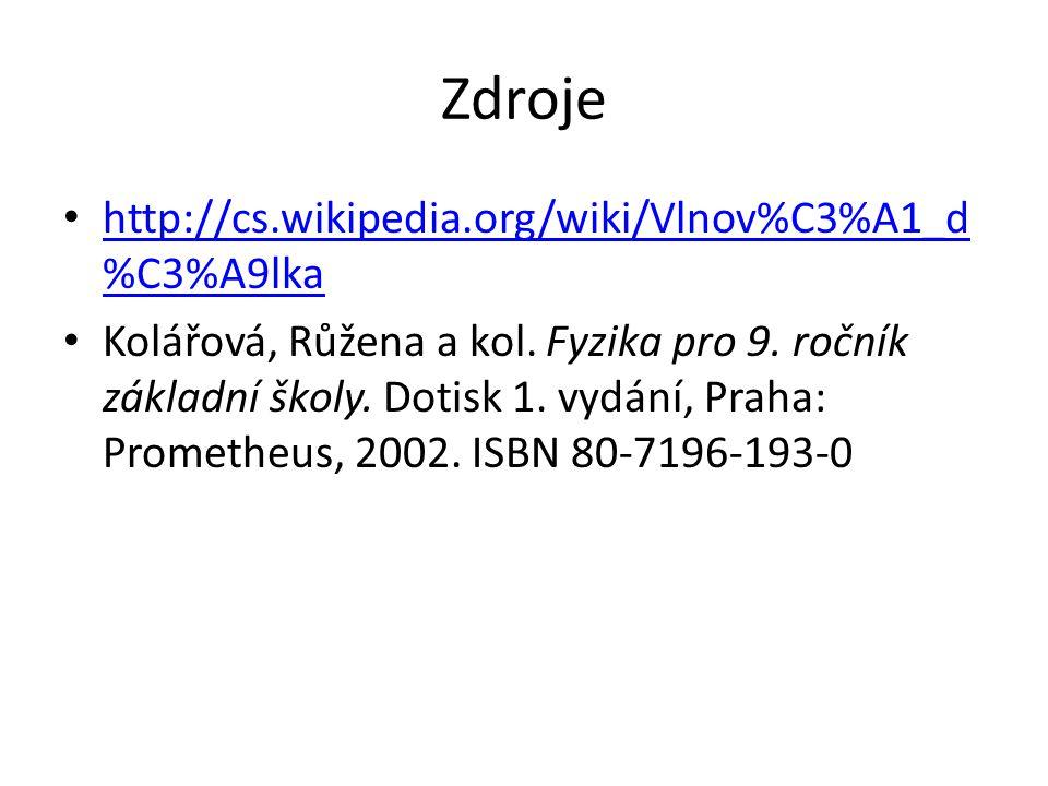 Zdroje http://cs.wikipedia.org/wiki/Vlnov%C3%A1_d%C3%A9lka