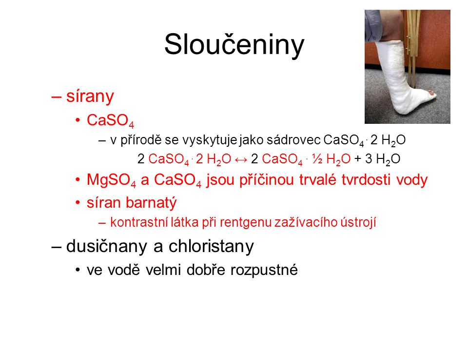 Sloučeniny sírany dusičnany a chloristany CaSO4