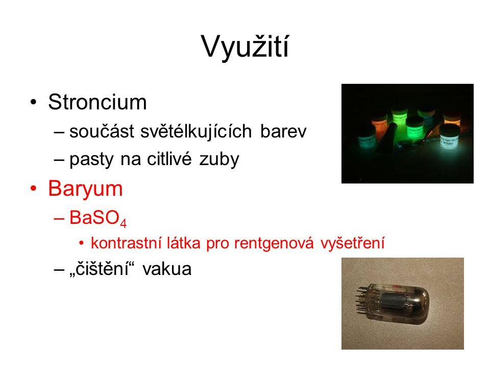 Využití Stroncium Baryum součást světélkujících barev