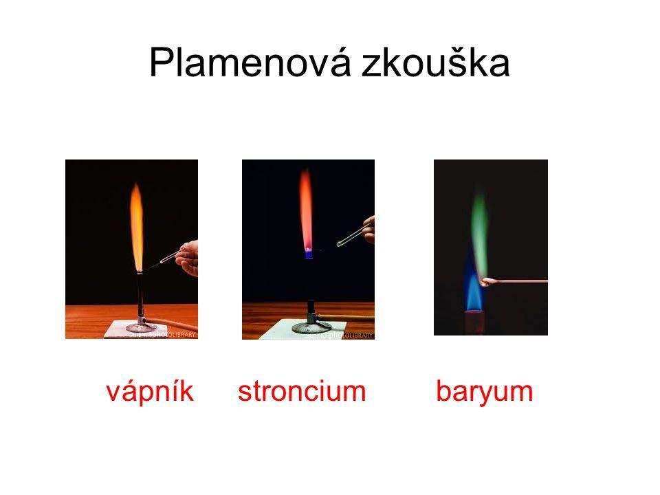 Plamenová zkouška vápník stroncium baryum