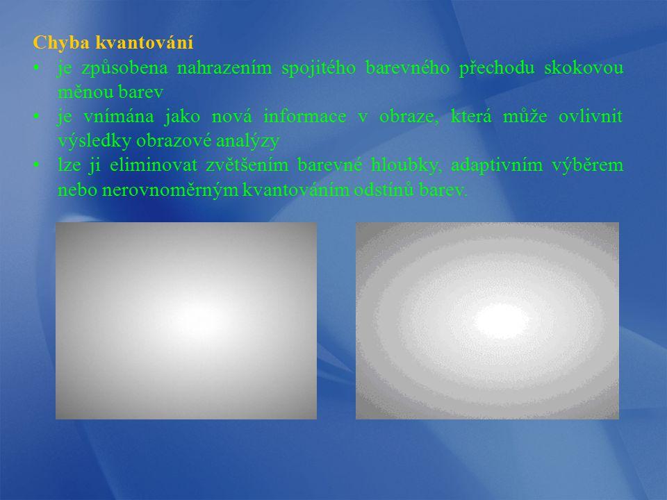 Chyba kvantování je způsobena nahrazením spojitého barevného přechodu skokovou měnou barev.
