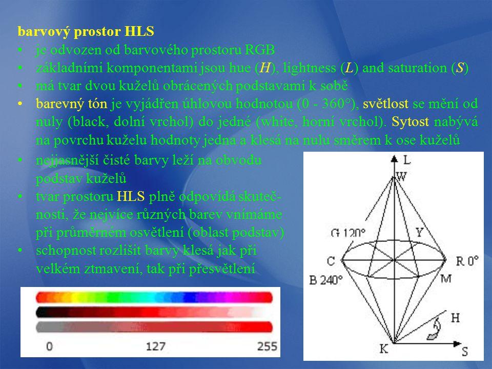 barvový prostor HLS je odvozen od barvového prostoru RGB. základními komponentami jsou hue (H), lightness (L) and saturation (S)