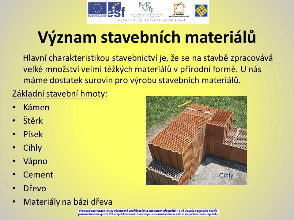 Význam stavebních materiálů