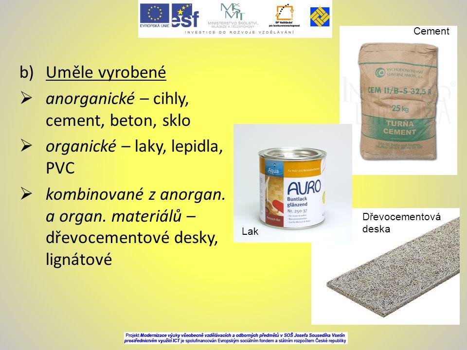 anorganické – cihly, cement, beton, sklo