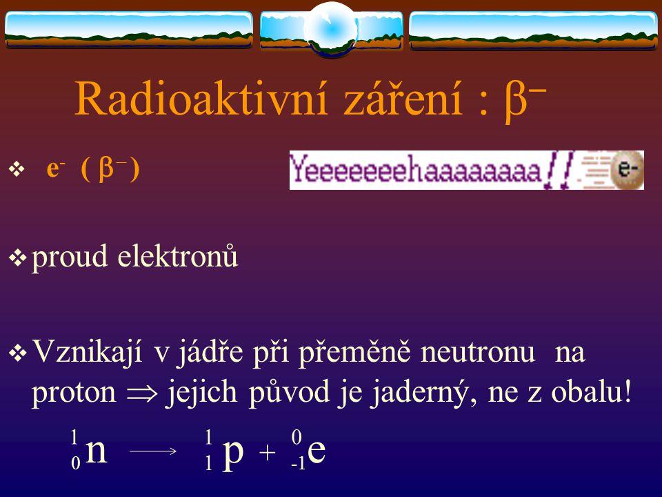 Radioaktivní záření : β-