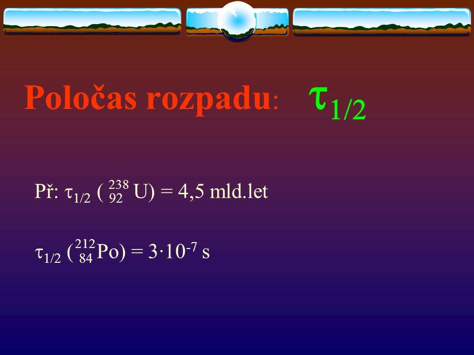 Poločas rozpadu: t1/2 Př: t1/2 ( 92 U) = 4,5 mld.let