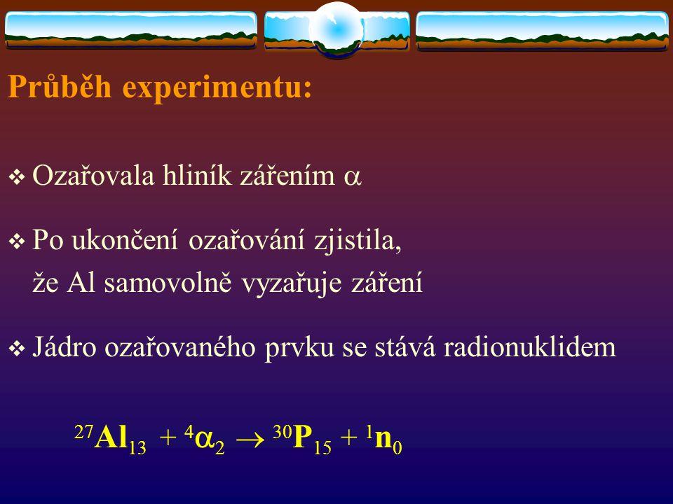 Průběh experimentu: Ozařovala hliník zářením a