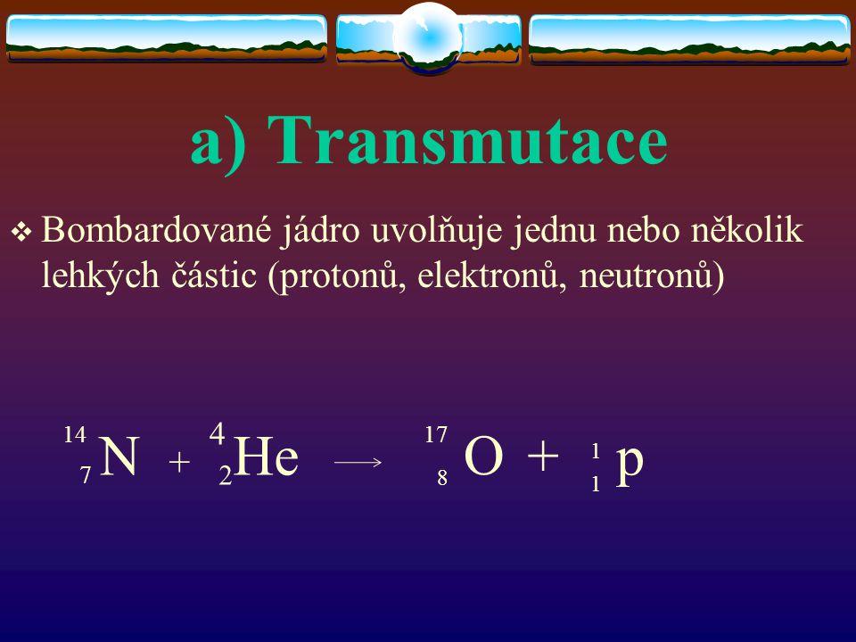 a) Transmutace Bombardované jádro uvolňuje jednu nebo několik lehkých částic (protonů, elektronů, neutronů)