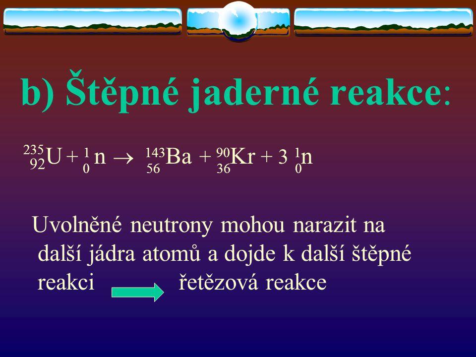 b) Štěpné jaderné reakce:
