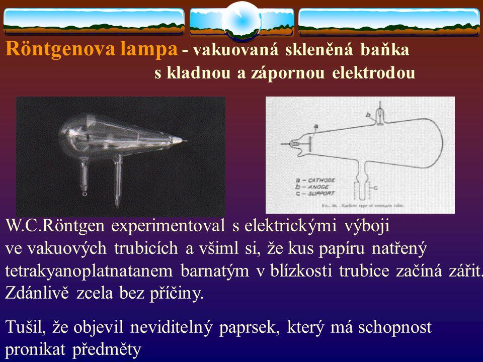 Röntgenova lampa - vakuovaná skleněná baňka