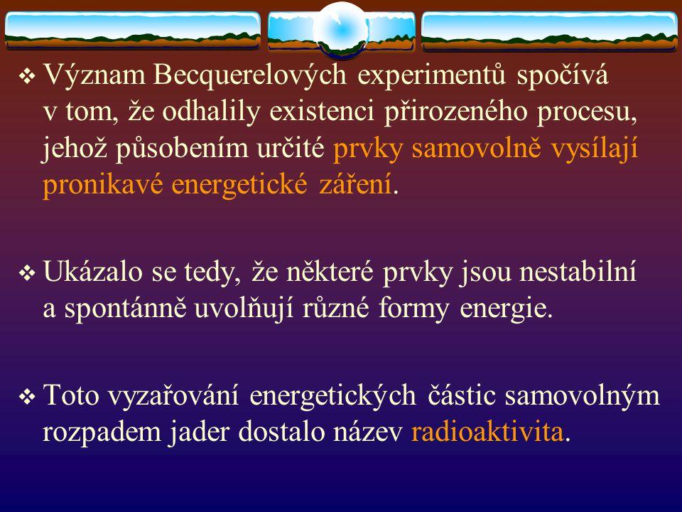 Význam Becquerelových experimentů spočívá v tom, že odhalily existenci přirozeného procesu, jehož působením určité prvky samovolně vysílají pronikavé energetické záření.