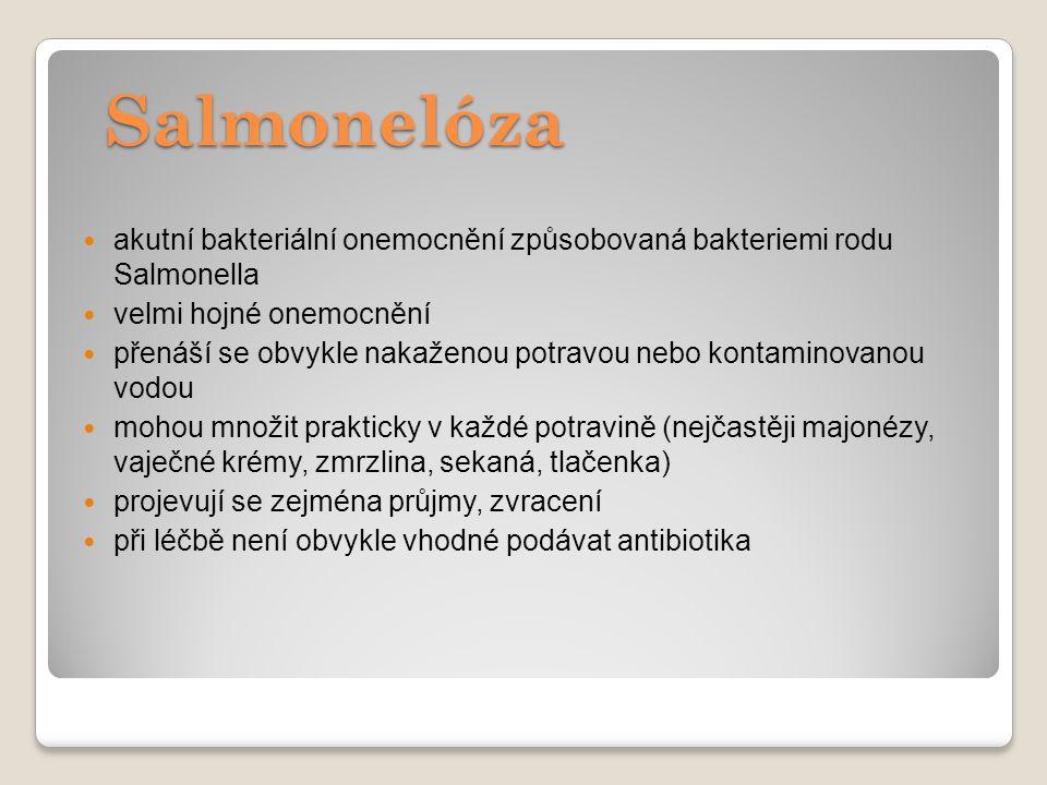 Salmonelóza akutní bakteriální onemocnění způsobovaná bakteriemi rodu Salmonella. velmi hojné onemocnění.