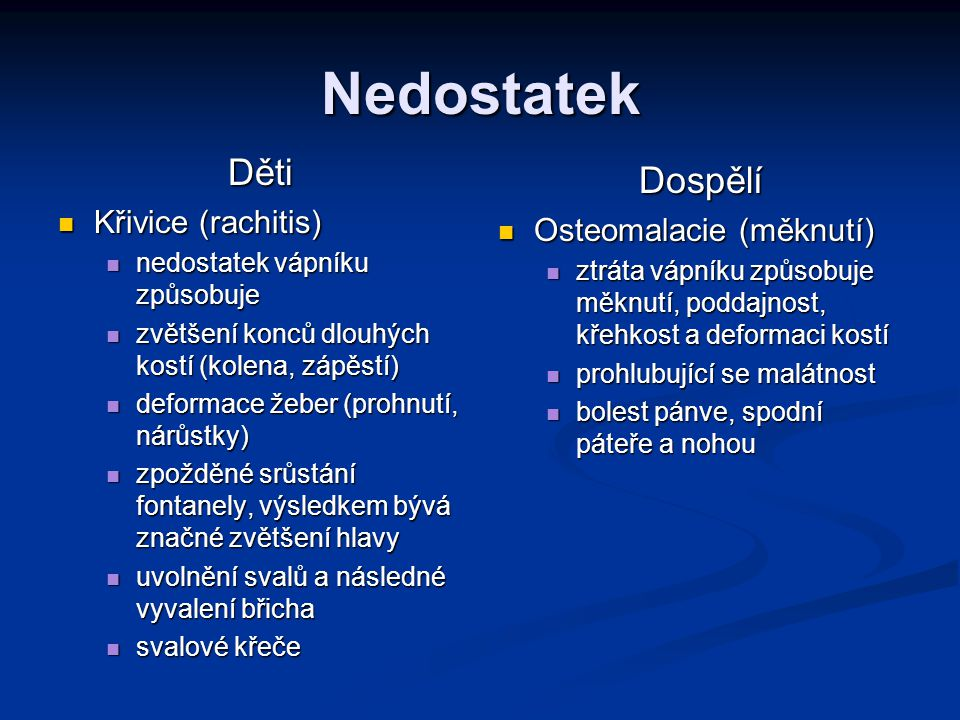 Nedostatek Děti Dospělí Křivice (rachitis) Osteomalacie (měknutí)