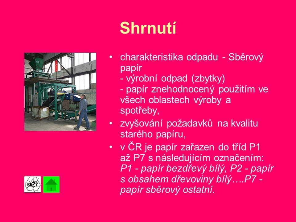 Shrnutí charakteristika odpadu - Sběrový papír - výrobní odpad (zbytky) - papír znehodnocený použitím ve všech oblastech výroby a spotřeby,