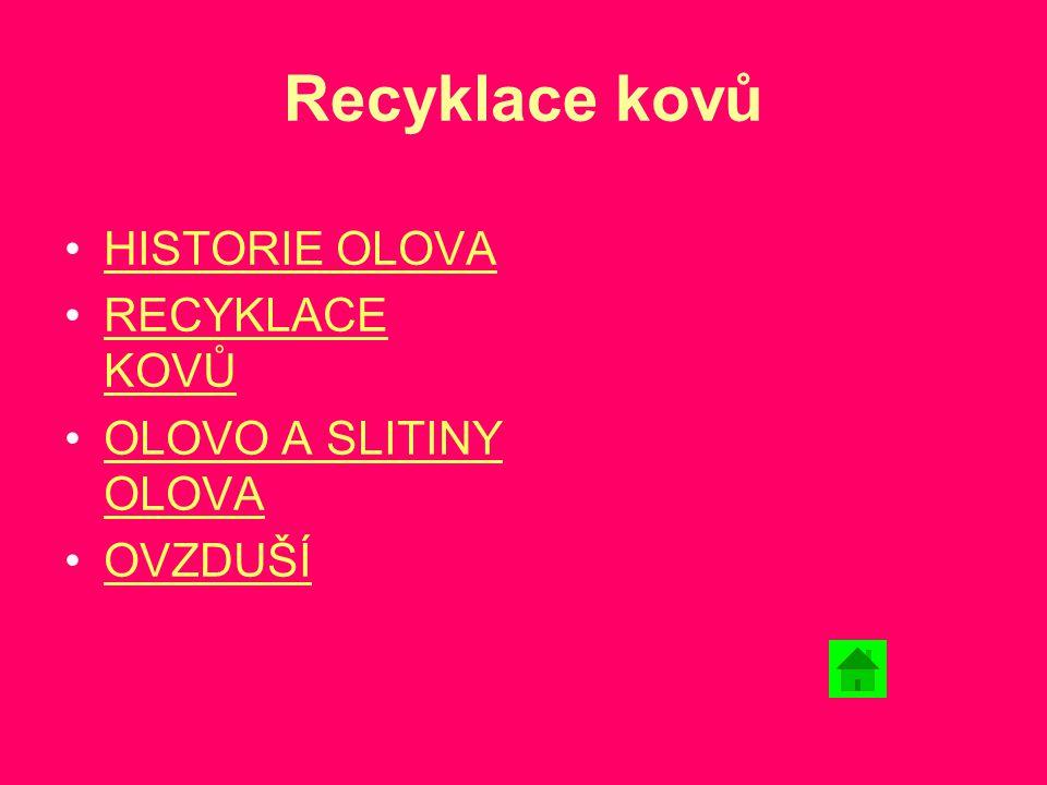 Recyklace kovů HISTORIE OLOVA RECYKLACE KOVŮ OLOVO A SLITINY OLOVA