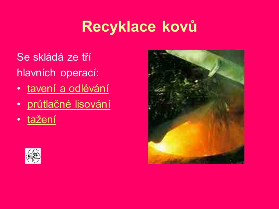 Recyklace kovů Se skládá ze tří hlavních operací: tavení a odlévání