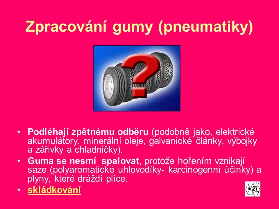 Zpracování gumy (pneumatiky)