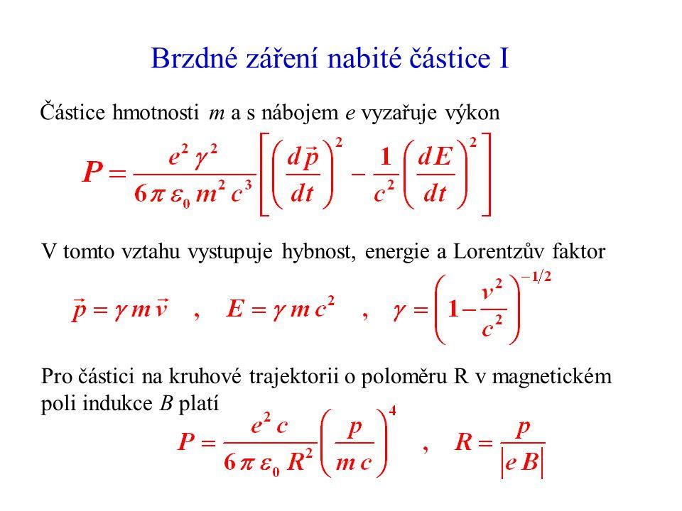 Brzdné záření nabité částice I