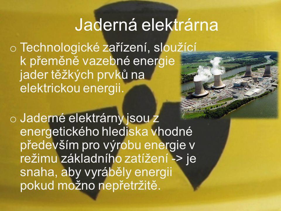 Jaderná elektrárna Technologické zařízení, sloužící k přeměně vazebné energie jader těžkých prvků na elektrickou energii.