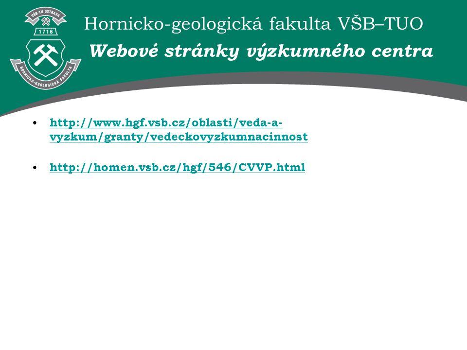 Webové stránky výzkumného centra