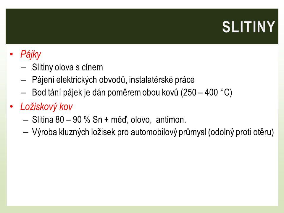SLITINY Pájky Ložiskový kov Slitiny olova s cínem