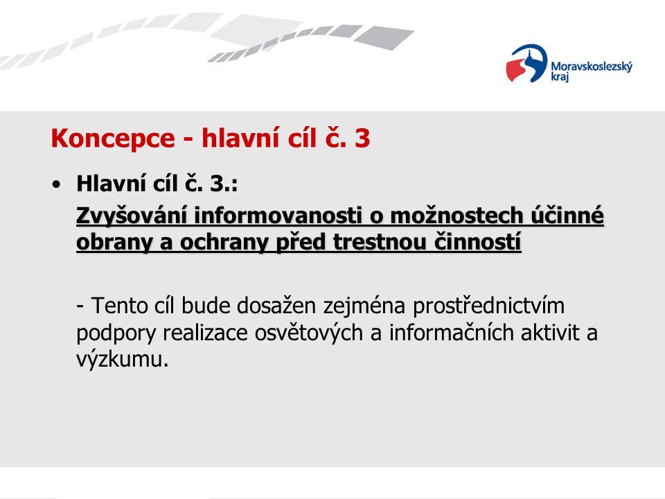 Koncepce - hlavní cíl č. 3 Hlavní cíl č. 3.: