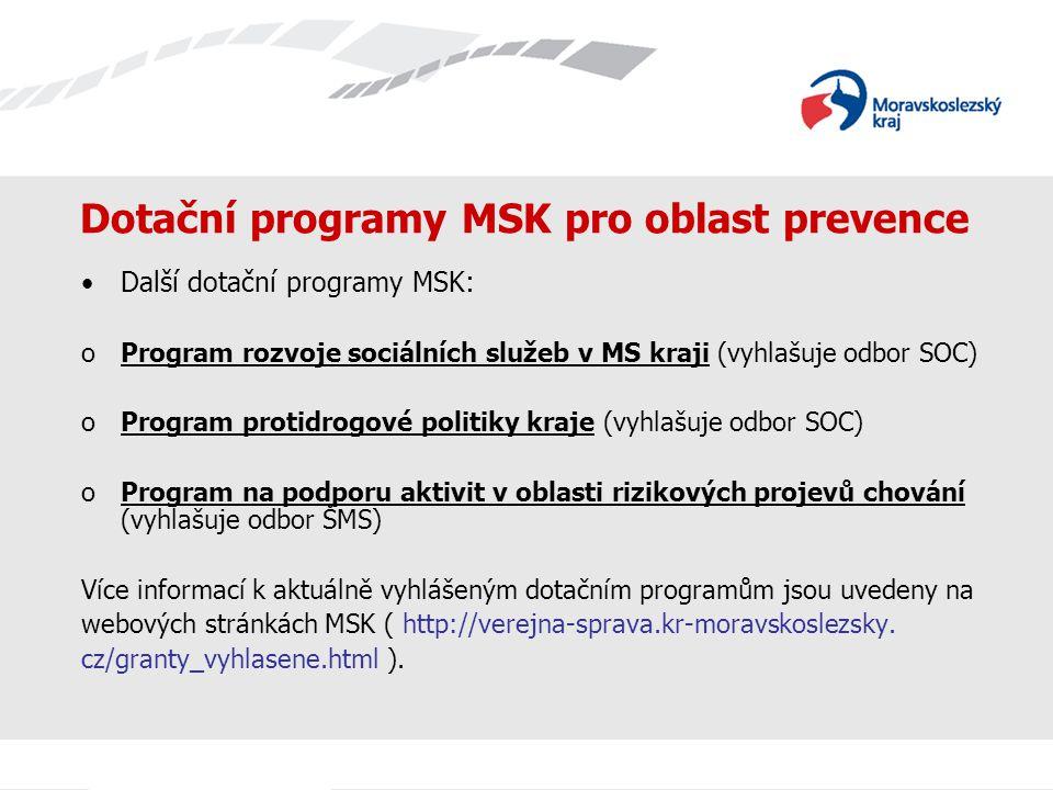 Dotační programy MSK pro oblast prevence