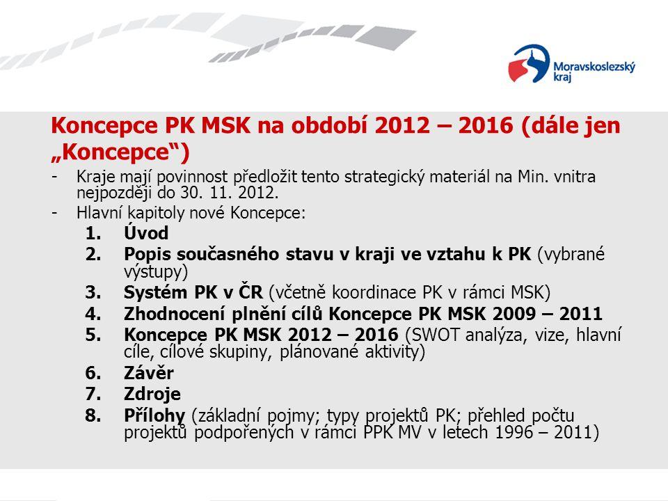 """Koncepce PK MSK na období 2012 – 2016 (dále jen """"Koncepce )"""