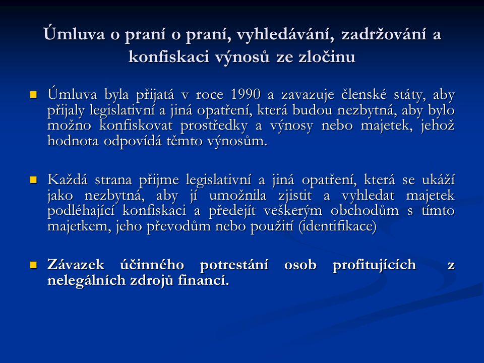 Úmluva o praní o praní, vyhledávání, zadržování a konfiskaci výnosů ze zločinu