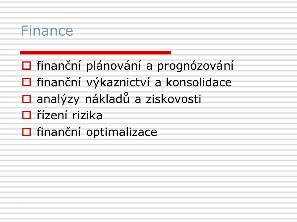 Finance finanční plánování a prognózování