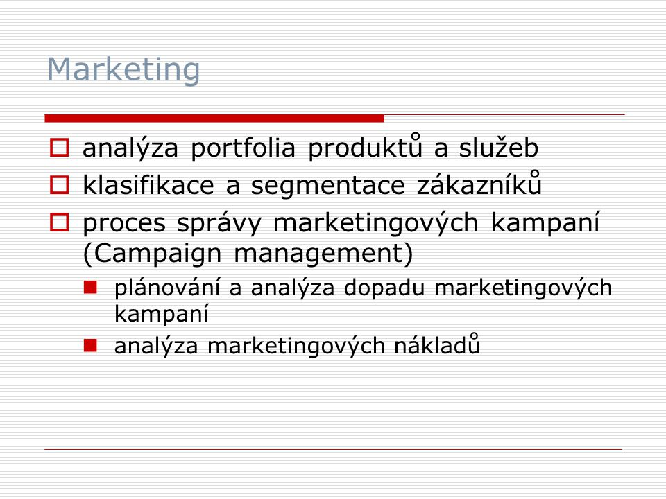 Marketing analýza portfolia produktů a služeb