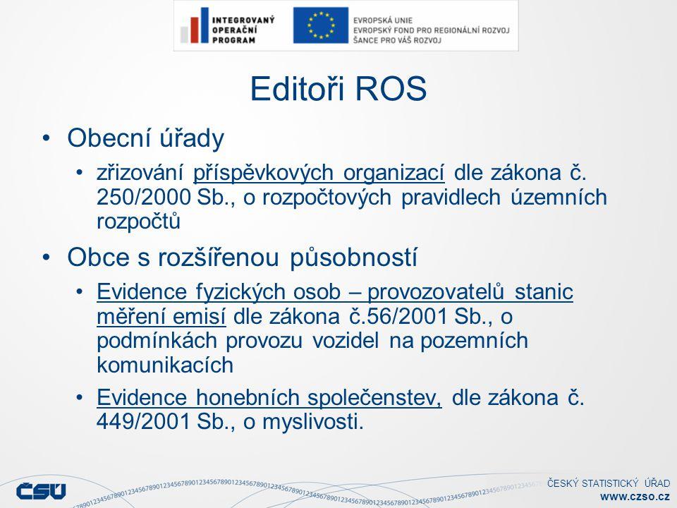 Editoři ROS Obecní úřady Obce s rozšířenou působností