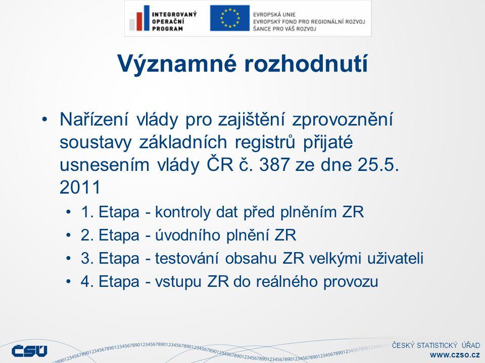 Významné rozhodnutí Nařízení vlády pro zajištění zprovoznění soustavy základních registrů přijaté usnesením vlády ČR č. 387 ze dne 25.5. 2011.