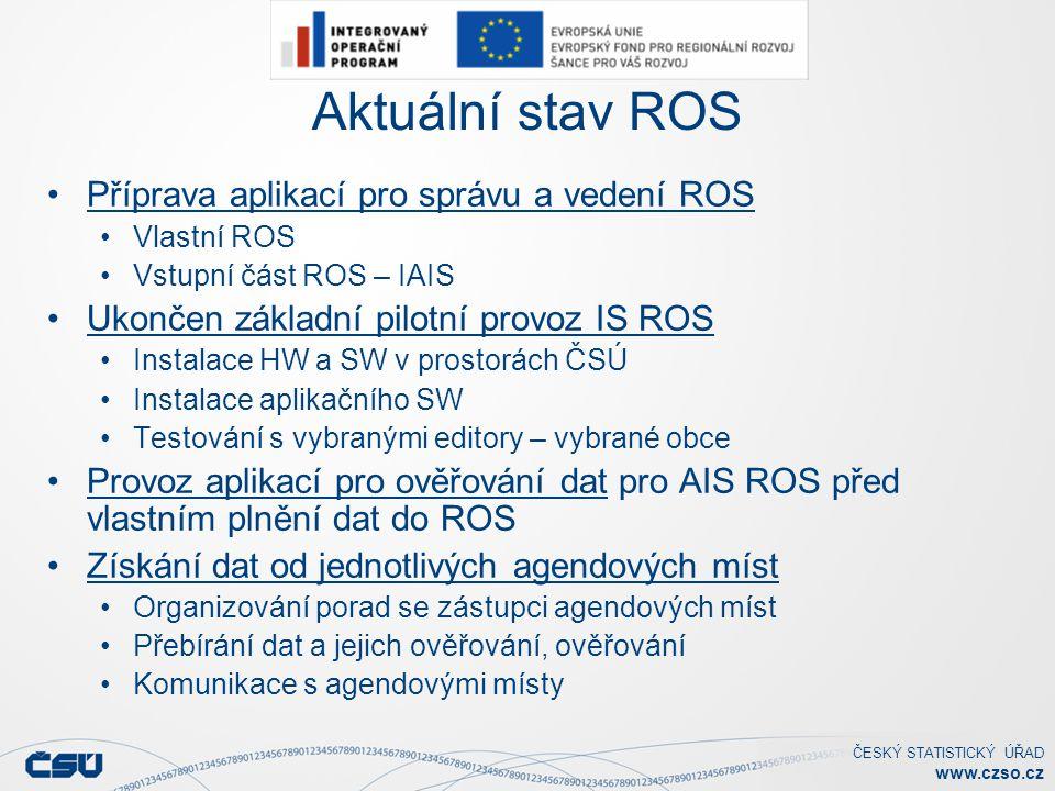 Aktuální stav ROS Příprava aplikací pro správu a vedení ROS
