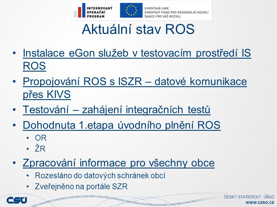 Aktuální stav ROS Instalace eGon služeb v testovacím prostředí IS ROS